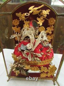 Vitrine globe couronne de mariée cabinet de curiosité XIXe NAPOLEON III