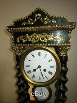 XIX Grande Pendule Napoleon III Colonne Laiton Dore Fonctionne