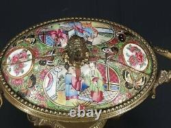 XIX ème s, coffret en porcelaine de Canton, monture bronze, Napoléon III