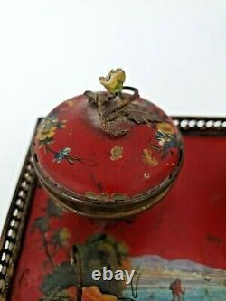 XIX ème s, encrier en tôle peinte, fleurs porcelaine Napoléon III