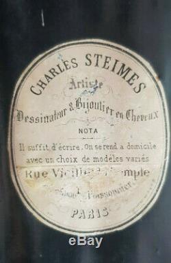 XIXe 24x28 Cadre Reliquaire Cheveux C STEIMES Art Deuil Verre Bombé Napoleon III
