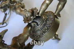 XIXe Lustre Décor de 3 Angelot Chérubin 6,8 Kg Statue Bronze Amour Napoleon III