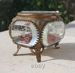 XIXe Napoleon III Boite à Bijoux Coffret Verre Gravé Victorian Jewel Box 19th